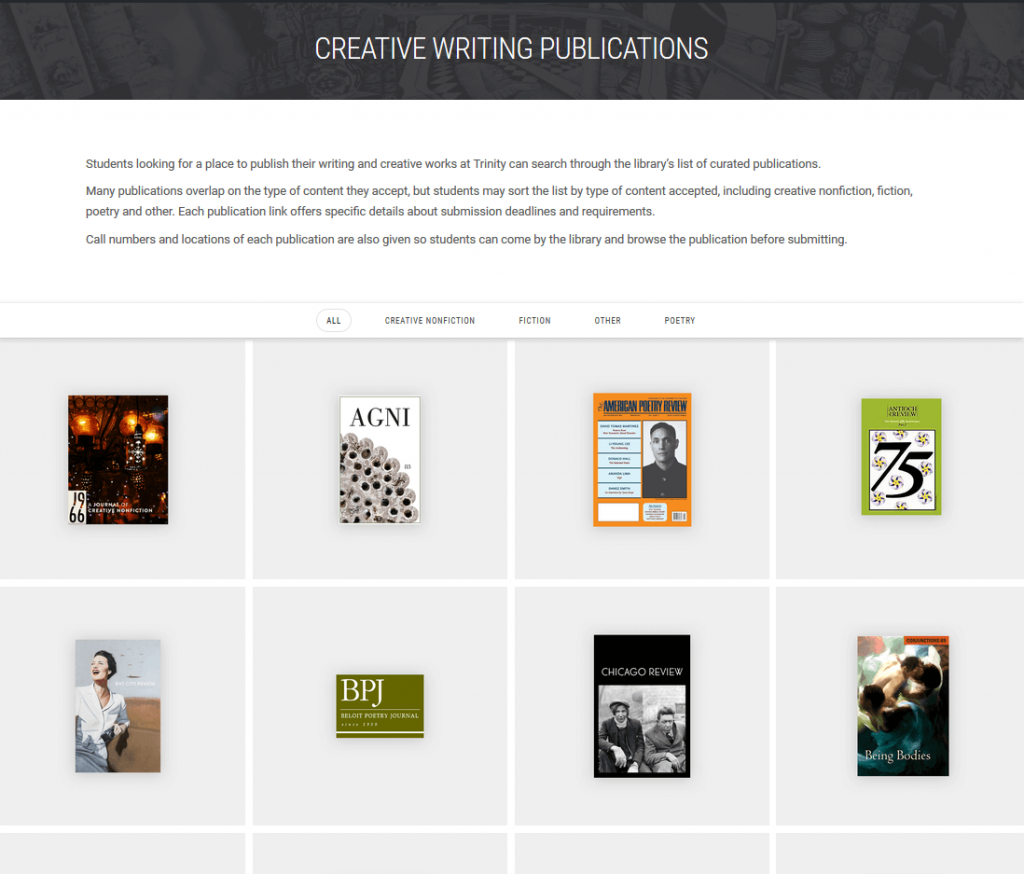Creative Writing Publications Page