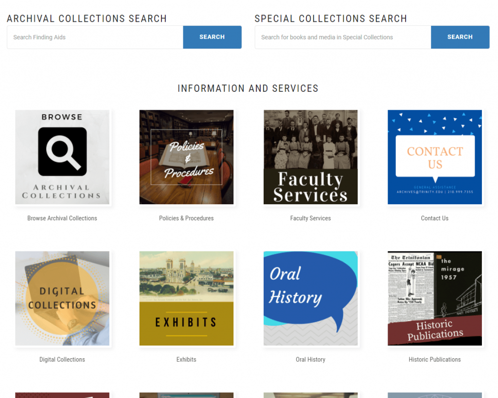 Special Collections Screenshot
