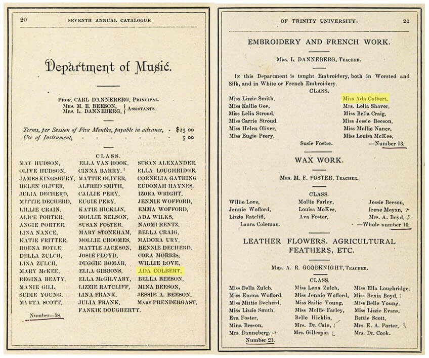 Catalogue pages from 1875 and 1876