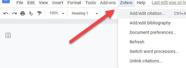 Zotero Menu Option Shown in Google Docs