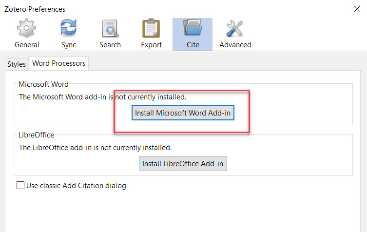 Install Microsoft Word Add-In Button Shown in the Zotero Desktop Settings Menu