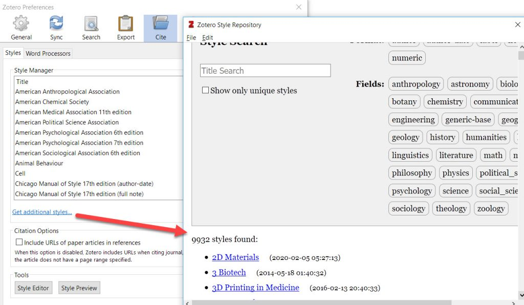 Search for Styles from within the Settings Area in Zotero