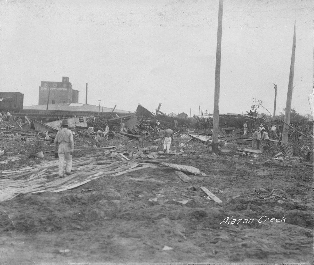 Flood damage from 1921 at Alazan Creek